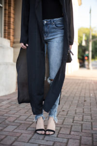 Dressing Up Jeans with a Long Cardigan & Heels